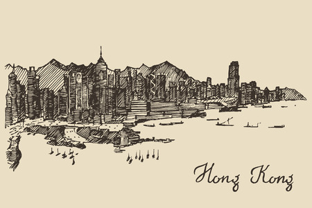 Hong Kong skyline big city architecture engraved vector illustration hand drawn sketch Ilustrace