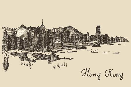 Hong Kong skyline big city architecture engraved vector illustration hand drawn sketch Illustration