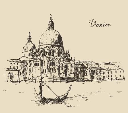 ヴェネツィアのゴンドラ ヴィンテージ刻まれたイラスト手描きの通り