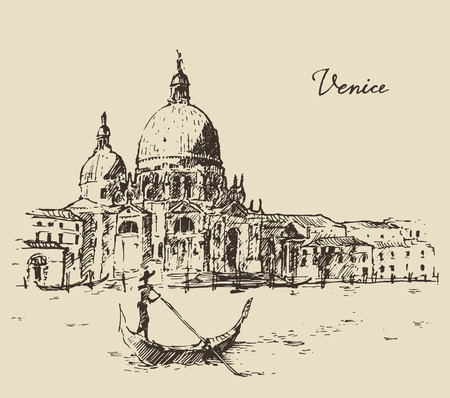 italy landscape: Streets in Venice Italy with gondola vintage engraved illustration hand drawn