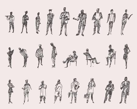 boceto: La gente, el hombre y la mujer y los niños boceto negocio ilustración vectorial, silueta