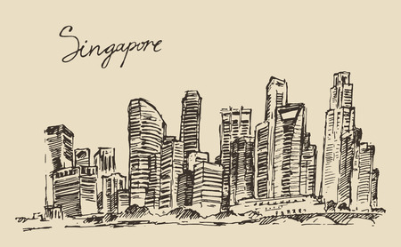 freehand: Singapore big city architecture vintage engraved illustration hand drawn sketch Republic of Singapore