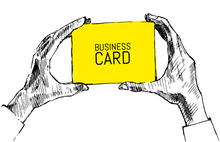 blank business card: Hands holding blank business card with place for your text vector hand drawn illustration sketch