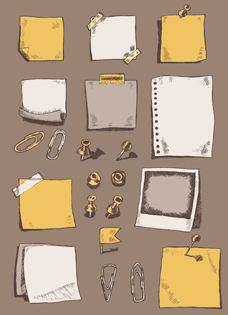 note board: Vector hand drawn illustration of pins pointers note papers and paper clips sketch doodles