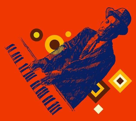 jazz men: JAZZ Man Playing the Piano hand drawn, sketch vector Illustration