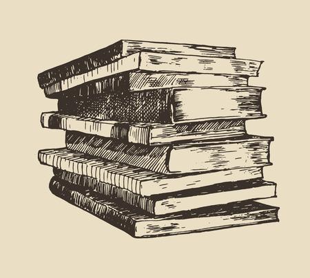 Pila del mucchio di stile inciso schizzo dell'illustrazione disegnata a mano d'annata di vecchi libri Archivio Fotografico - 42726738