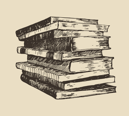 reads: Pile stack of old books vintage hand drawn vector illustration sketch engraved style Illustration