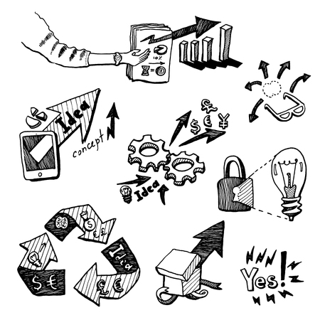 business idea: Business Idea concept high detailed doodles icons set sketch Vector illustration hand drawn background