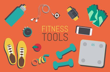 gym clothes: Vector flat icons set of fitness tools fitness elements Gym bag essentials top view