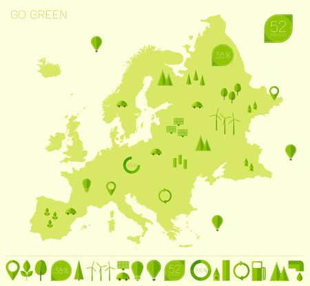 map of europe: Europe high detailed map with set of info graphics ecology eco elements and icons flat trendy vector illustration Green world concept