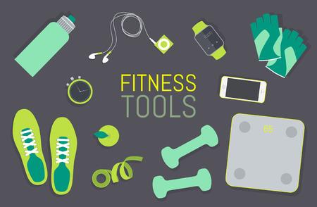 mujeres fitness: Iconos planos Vector conjunto de elementos de herramientas de fitness Fitness Gym esenciales bolsa vista superior