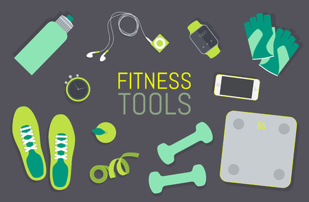 Vector flat icons set of fitness tools fitness elements Gym bag essentials top view. Stock Photo