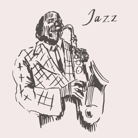 jazz man: JAZZ Man Playing the Saxophone  hand drawn, sketch vector Illustration