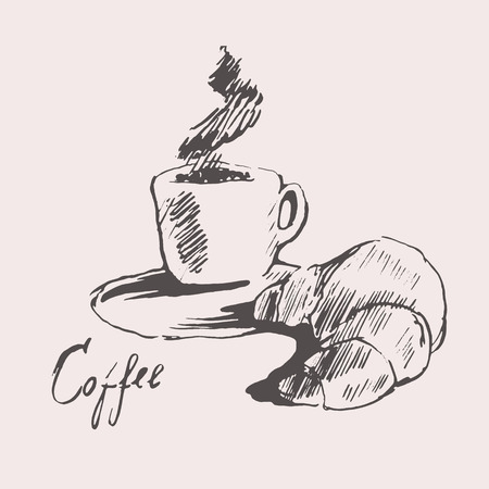cappuccino: Cup of coffee with croissant vintage illustration engraved retro style hand drawn sketch menu design