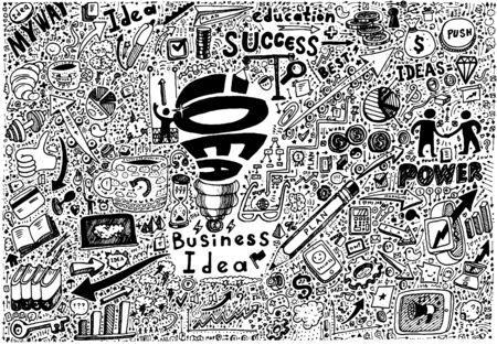 idea sketch: Business Idea high detailed doodles icons set sketch Vector illustration hand drawn background