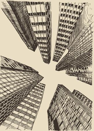 anuncio publicitario: Boceto dibujado Big City Concepto Arquitectura Grabado Ilustración mano
