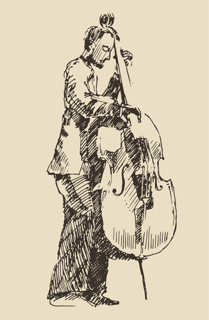 JAZZ concept man playing the double bass music vintage illustration engraved retro style hand drawn sketch Vectores