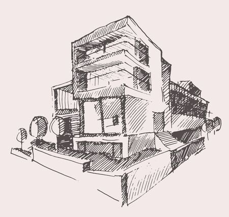 architects: Architect draft of modern new house engraving vector illustration building design concept hand drawn Illustration