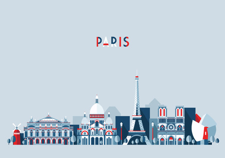 france: Paris France city skyline vector background. Flat trendy illustration