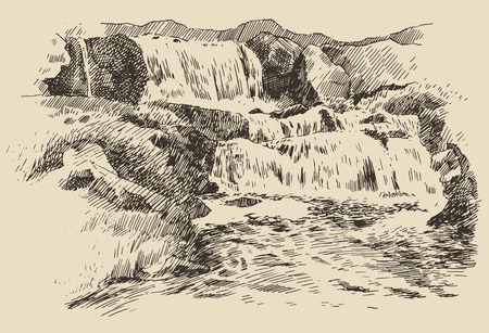 Waterfalls landscape vintage engraving illustration of beautiful waterfalls hand drawn