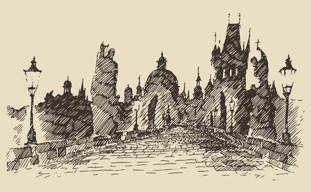 bridge hand: Charles Bridge Prague, Czech Republic vintage engraved illustration hand drawn Illustration