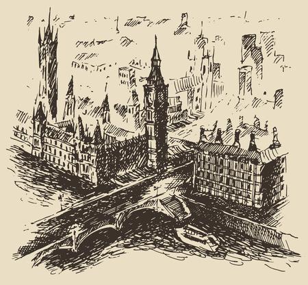 westminster: London England vintage engraved illustration hand drawn sketch