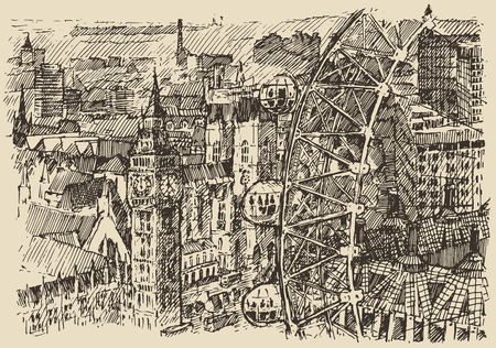 london   england: London England vintage engraved illustration hand drawn sketch