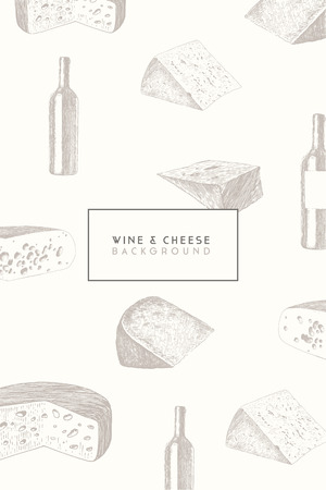 sketch drawing: Trendy wine and cheese menu design high detailed vector illustration, hand drawn