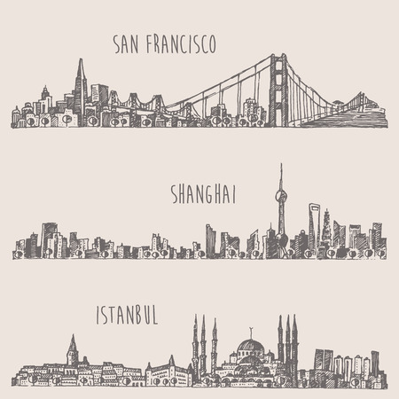 turkey istanbul: Shanghai Istanbul San Francisco big city architecture vintage engraved illustration hand drawn sketch Illustration