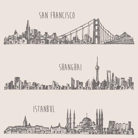 Shanghai Istanbul San Francisco big city architecture vintage engraved illustration hand drawn sketch Illustration