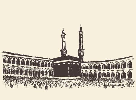 イスラム教徒の人々 ヴィンテージ刻まれたイラスト手描きのスケッチでメッカ サウジアラビアの聖カーバ神殿