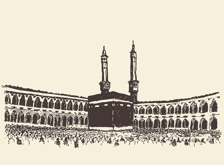 holy: Holy Kaaba in Mecca Saudi Arabia with muslim people vintage engraved illustration hand drawn sketch