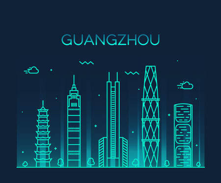 city skyline: Guangzhou skyline detailed silhouette Trendy vector illustration line art style