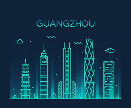 city landscape: Guangzhou skyline detailed silhouette Trendy vector illustration line art style