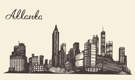 georgia: Atlanta skyline vintage engraved illustration hand drawn sketch