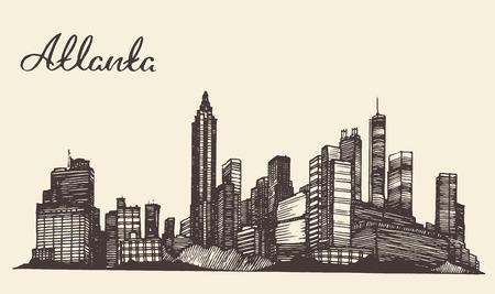 Atlanta skyline vintage gegraveerde illustratie hand getekende schets