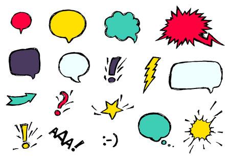 comico: Conjunto de discurso c�mico fresco y din�mico brillante burbujas de diferentes emociones y efectos de sonido Vectores
