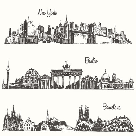 new york skyline: Set of cities New york Berlin Barcelona engraved vector illustration hand drawn