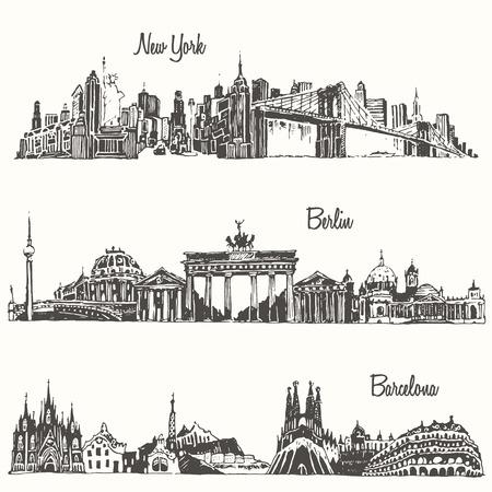 Set van steden New york Berlin Barcelona gegraveerd vector illustratie hand getekend