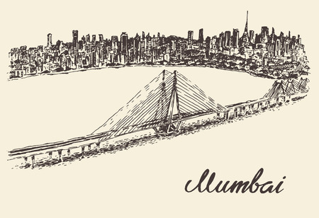 india city: Mumbai skyline vintage vector engraved illustration hand drawn sketch Illustration