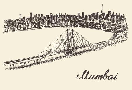 Mumbai skyline vintage vector engraved illustration hand drawn sketch Illustration