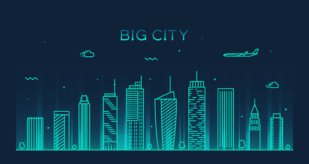 and scape: Big city skyline at night detailed silhouette Trendy vector illustration linear style