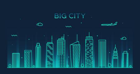 disegno: Big city skyline di notte silhouette dettagliata illustrazione vettoriale Trendy stile lineare