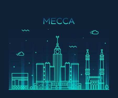 middle east: Mecca skyline detailed silhouette Trendy vector illustration, linear style