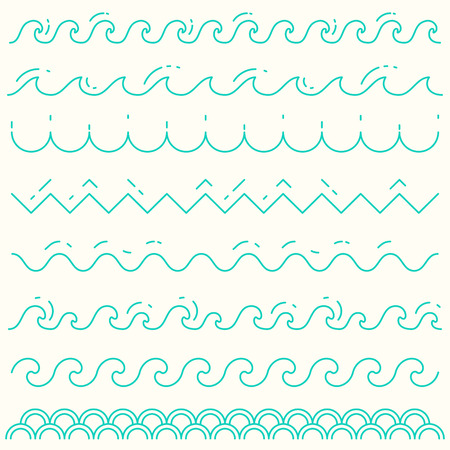 Set of trendy linear style waves Blue wave line pattern vector illustration