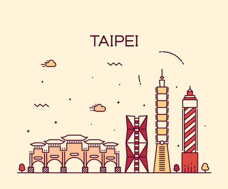 and asia: Taipei skyline detailed silhouette Trendy vector illustration linear style