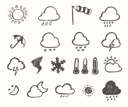meteo: Set di icone meteorologiche stile disegnato a mano con sfondo bianco illustrazione vettoriale