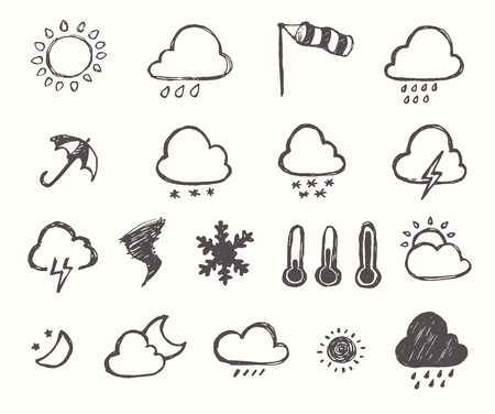 weather: Set of weather icons hand drawn style with white background Vector illustration Illustration