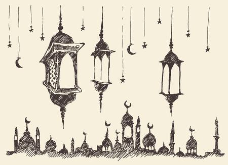 祝賀会: ラマダンの祭典ヴィンテージ刻まれたイラスト手描き
