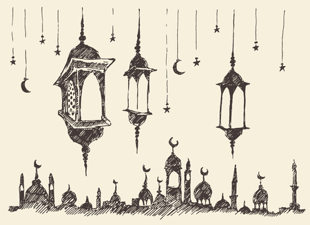 boceto: Dibujado Ramadán celebración cosecha ilustración grabada mano